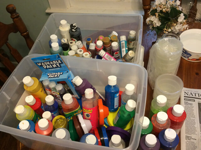 If you have access to a Nana with boxes full of kid-friendly paints, make a stop by her house first. :)