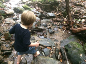 Playing in the creek on one of our favorite nearby hikes.
