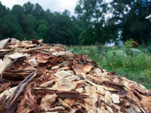 Having a pile of mulch available makes it simple for us to add a layer.