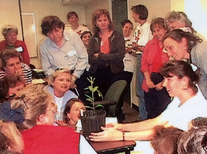 Educators gathered to watch the caterpillar pupate! Awesome scanned photo: Kim Bailey :)