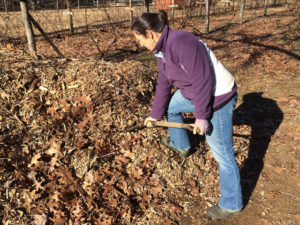 Amy moving mulch with two of our favorite gifts for gardeners.